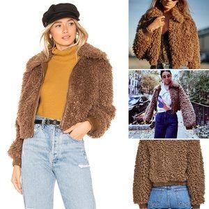 ASTR THE LABEL Phoenix Brown Teddybear Jacket